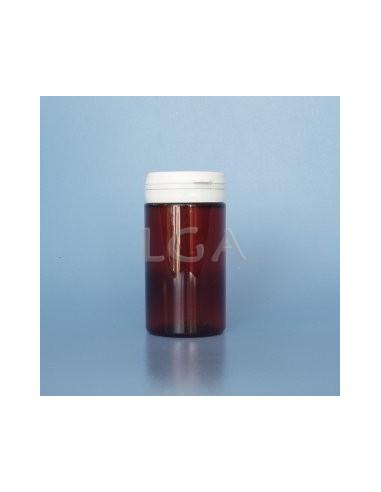 Pilulier plastique ambré cristal 100ml, à couvercle inviolable