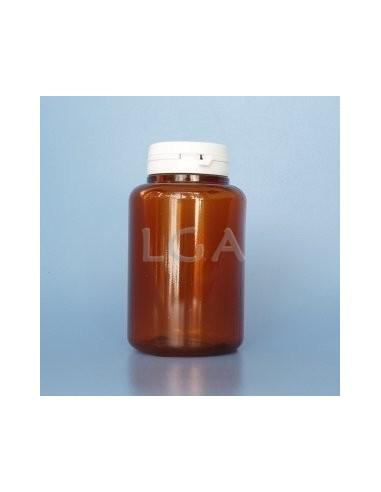 Pilulier plastique ambré cristal 250ml, à couvercle inviolable