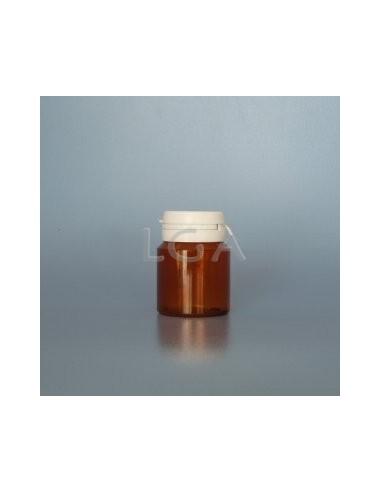 Pilulier plastique ambré cristal 30ml, à couvercle inviolable