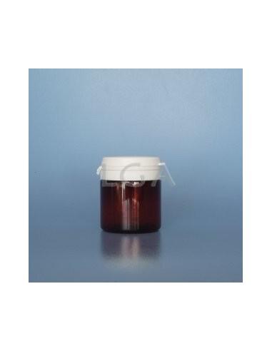 Pilulier plastique ambré cristal 50ml, à couvercle inviolable