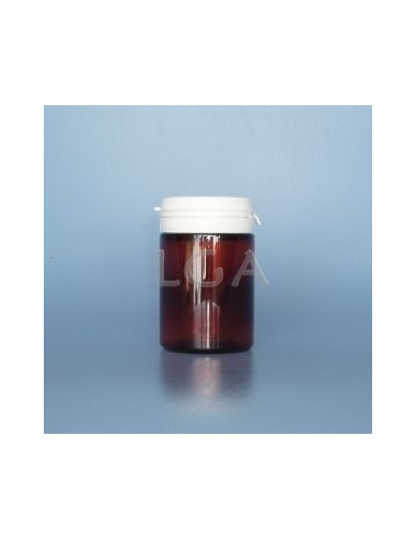 Crystal amber plastic capsule box 75ml with impregnable cap