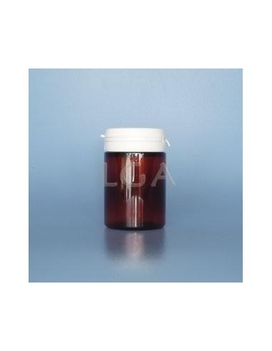 Pilulier plastique ambré cristal 75ml, à couvercle inviolable