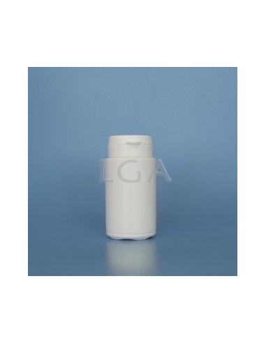 Pilulier plastique blanc 50ml, à couvercle inviolable