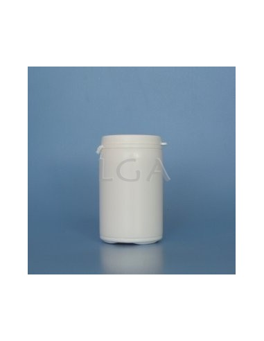White plastic capsule box 75ml with impregnable wide cap