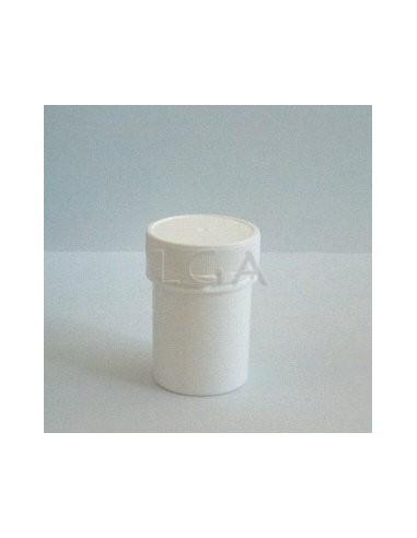 weiße Dose mit Schraubverschluss mit Deckel mit Sicherheitsgewinde
