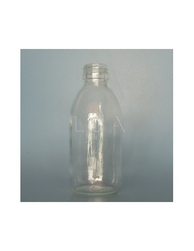 Flacon verre rond PP28 blanc 200ml