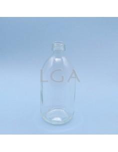 White glass round bottle...
