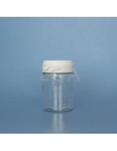 Pilulier plastique cristal 75ml, à couvercle inviolable