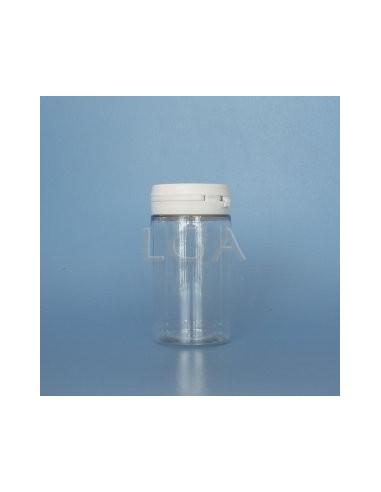 Pilulier plastique cristal 100ml, à couvercle inviolable