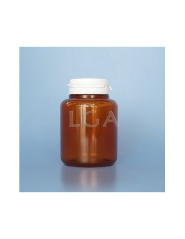 Pilulier plastique ambré cristal 200ml, à couvercle inviolable