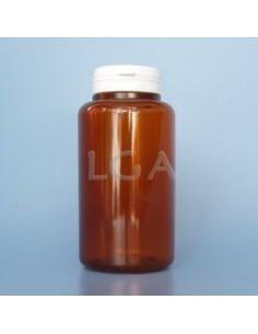 Pilulier plastique ambré cristal 300ml, à couvercle inviolable