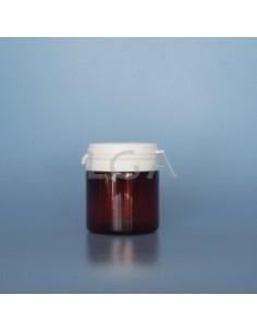 Pilulier plastique ambré cristal 50ml- à couvercle inviolable