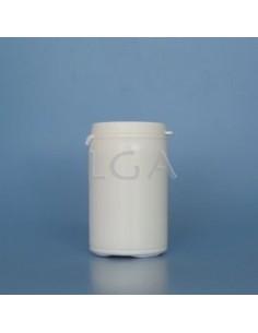Pilulier plastique blanc 75ml, à couvercle inviolable