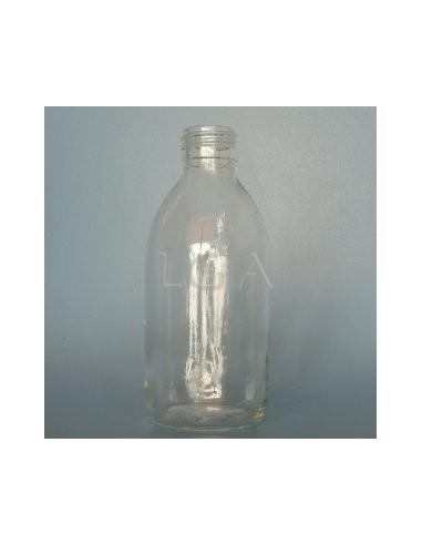 Flacon verre rond PP28 blanc 250ml