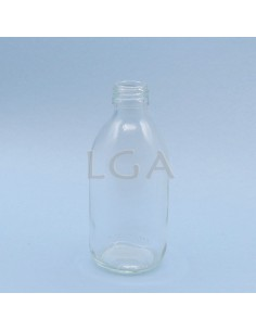White glass round bottle...